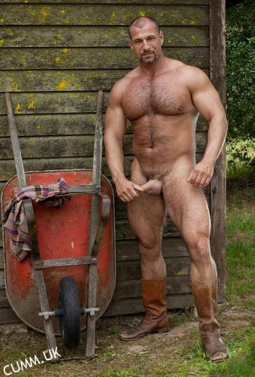 big beefy mature bear wanking outdoors