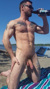 naked celebration beach sexy man show his cock