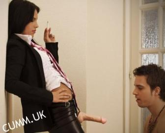 pegged by woman made to suck her cock