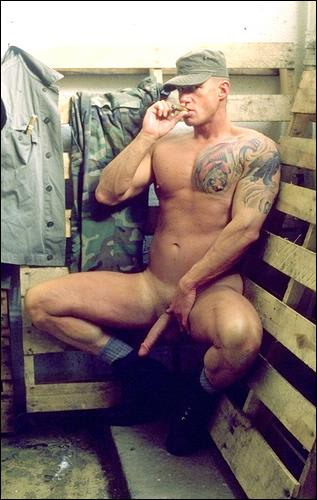 smoking mature-army-cock