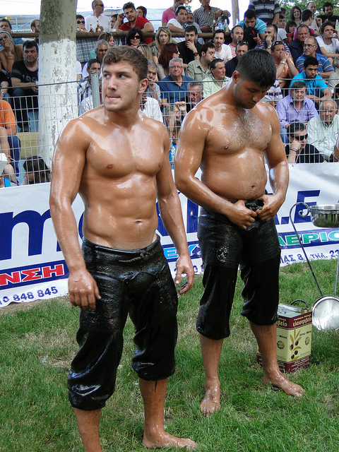 turkish oil wrestling oiled and ready