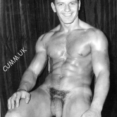 vintage male bodybuilder hung uncut