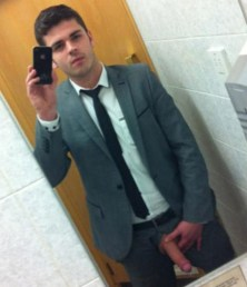 young suited guy gay showing off his self cock