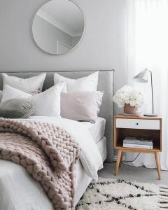 pink and gray modern romantic bedroom