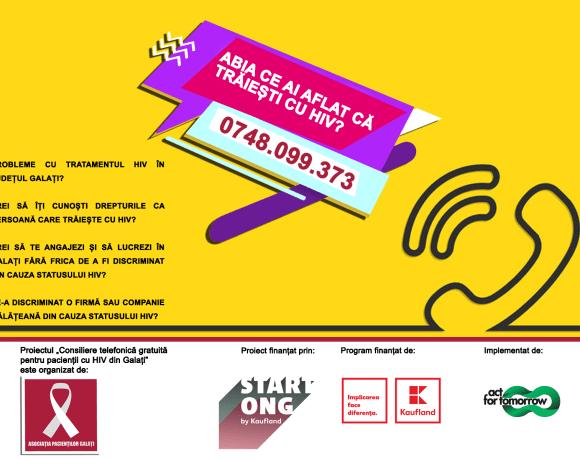 Din august, Asociatia Pacientilor din Galati va oferi consiliere telefonica gratuita pentru pacientii cu HIV din judet