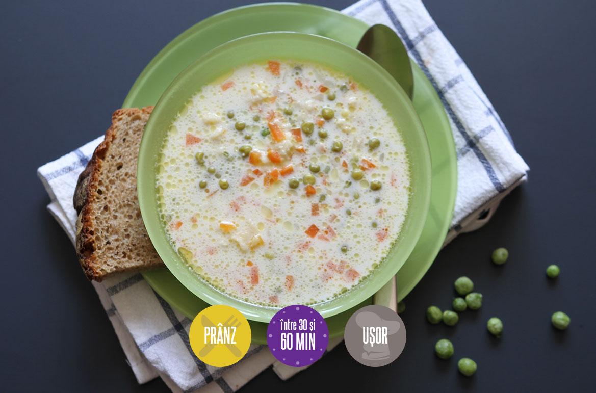 Supă de mazăre cu găluște de făină