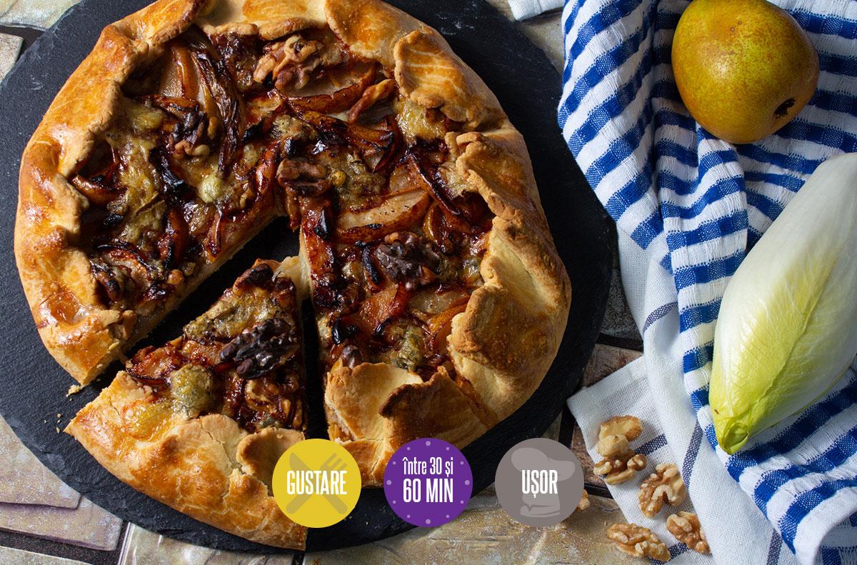 Tartă rustică cu pere nuci și gorgonzola