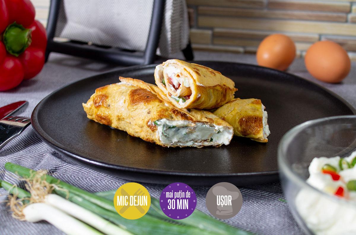 rulouri de omletă cu cremă de brânză