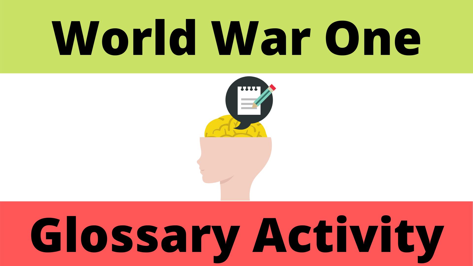 World War One Glossary Activity