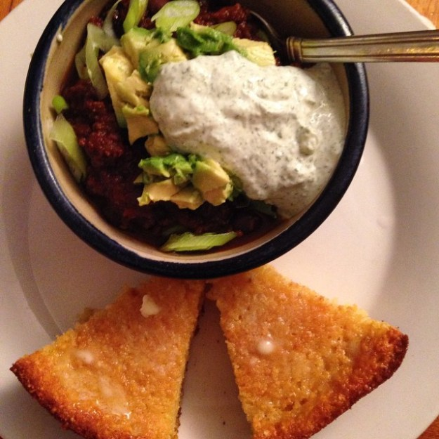 Bison & Black Bean chili with homemade skillet cornbread (see NY Times recipe for maple & brown butter skillet cornbread -- yum) and a lime-cilantro yogurt.