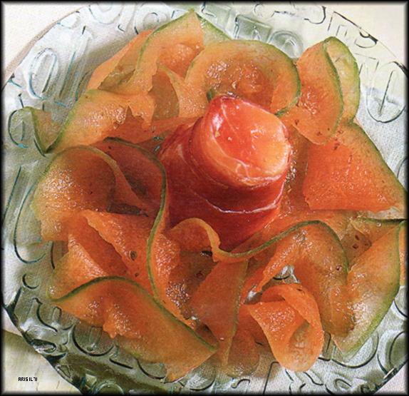 Timballini di Prosciutto con Carpaccio di Melone