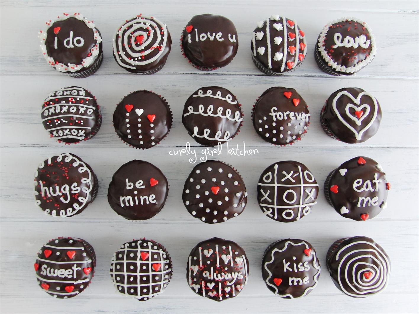 Ganache Cream and Chocolate Valentine Cupcakes