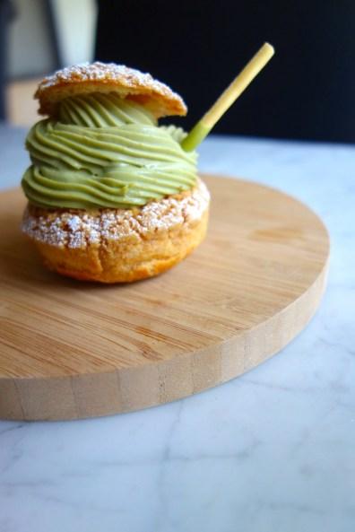 Matcha Yuzu Chu Puff - choux pastry w/ matcha chantilly & yuzu jelly ($4.50)