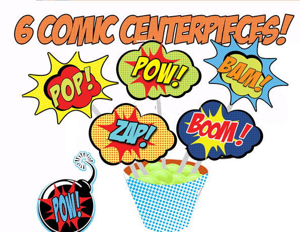 Superhero Comic Signs Centrepiece Cupcake Toppers