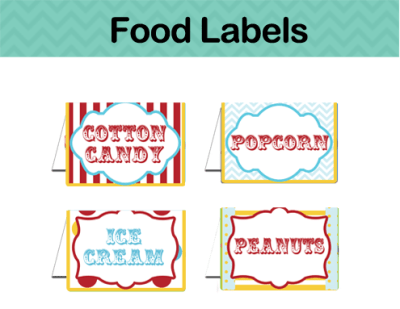 Carnival Food Labels Editable Tent Cards INSTANT