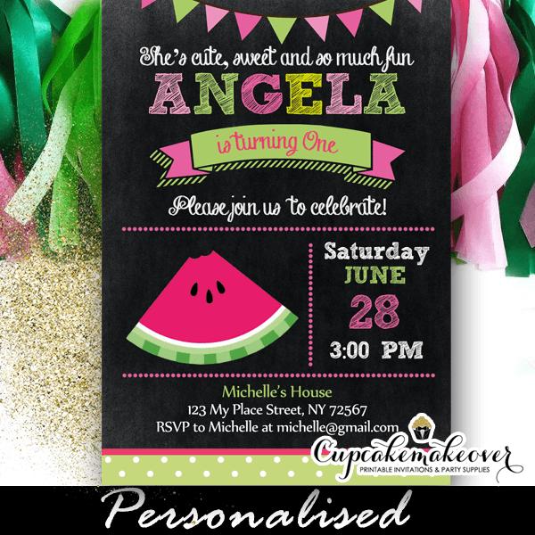 watermelon chalkboard birthday party