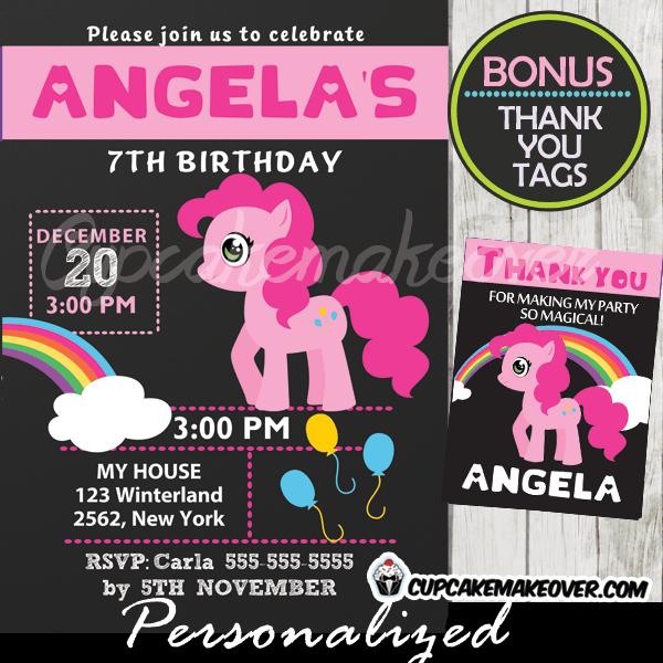 pink little pony birthday invitation