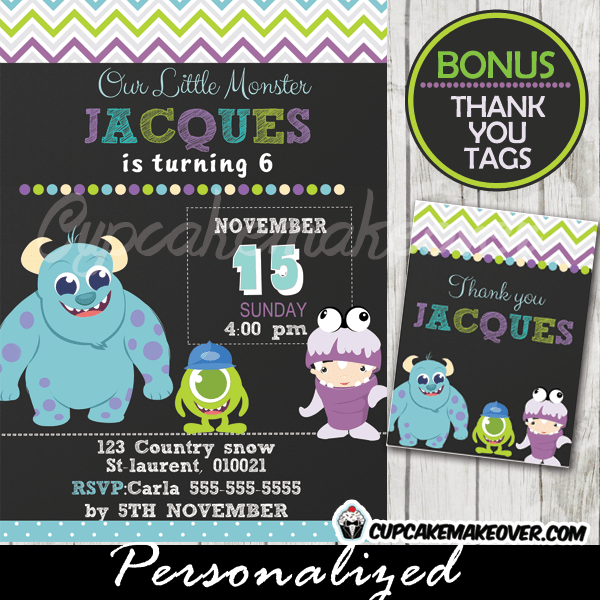 Monsters Inc Birthday Invitation Card Boys Personalized D1 Cupcakemakeover