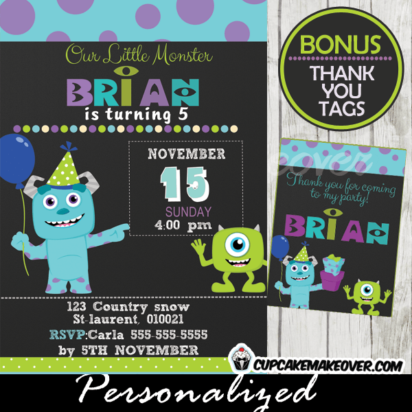 monsters inc party invitation card boys