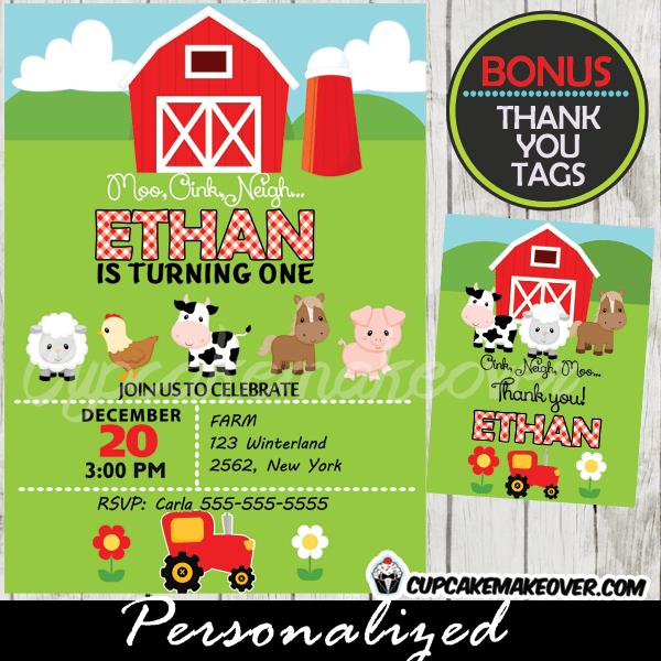 farm birthday invitation red tractor