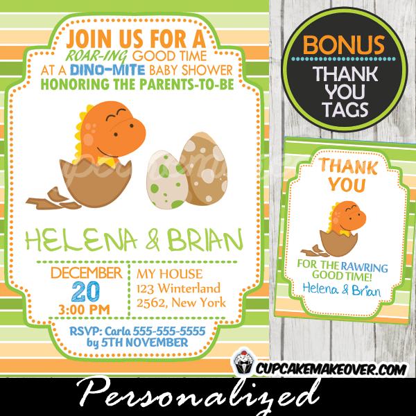Orange Dinosaur Baby Shower Invitation Boy Personalized D3