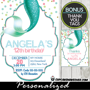 Mermaid Tail Birthday Invitation Personalized D11
