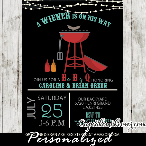 Bbq Baby Shower Invitations Wiener On His Way