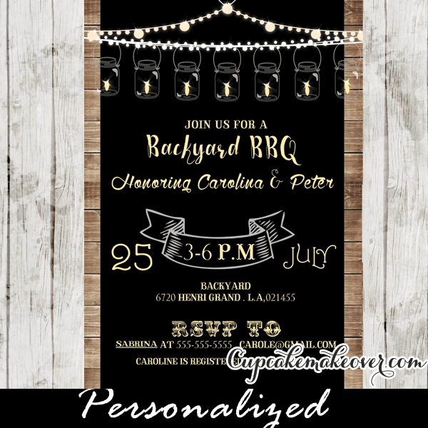 Backyard Bbq Baby Shower Invitations Rustic Wood