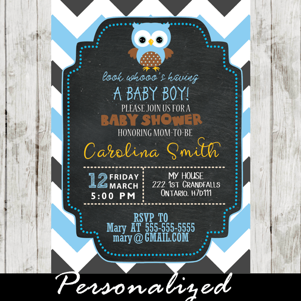 Gray And Blue Chevron Owl Baby Shower Invitations Personalized