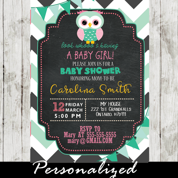 Gray And Mint Green Chevron Owl Baby Shower Invitations Personalized