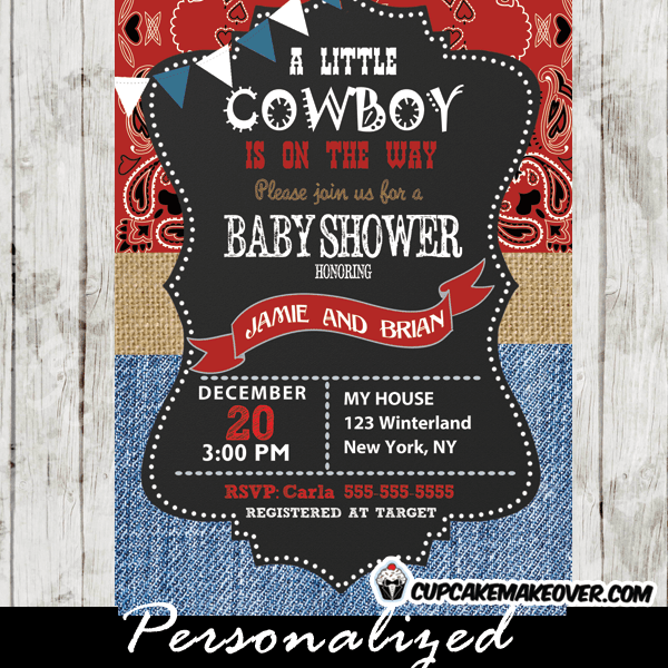 Western Cowboy Baby Shower Invitations Burlap Paisley Denim