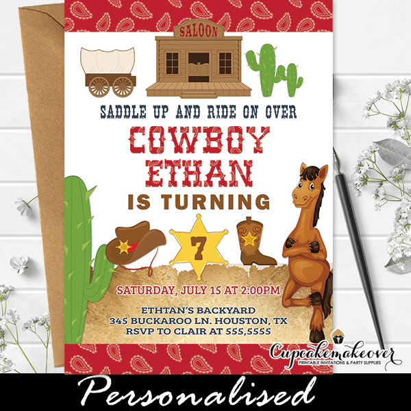 western themed cowboy party invites