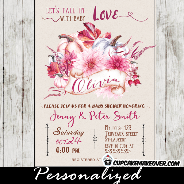 Fl Burgundy Pink Fall Themed Baby Shower Invitations Personalized