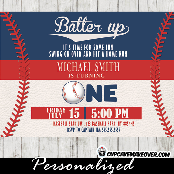 Baseball Birthday Invitations Baseball Red Stitches