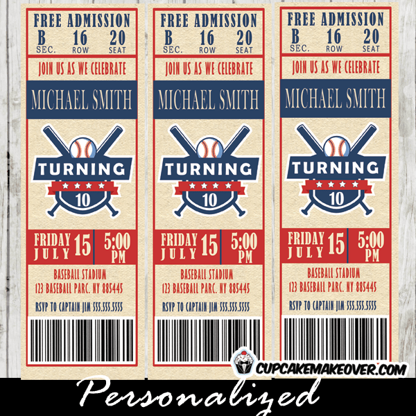 baseball ticket invitations sports