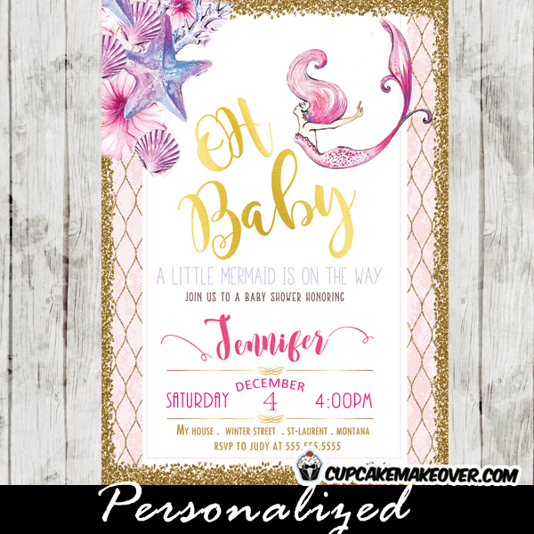 Mermaid Baby Shower Invites Watercolor Sea Pink And