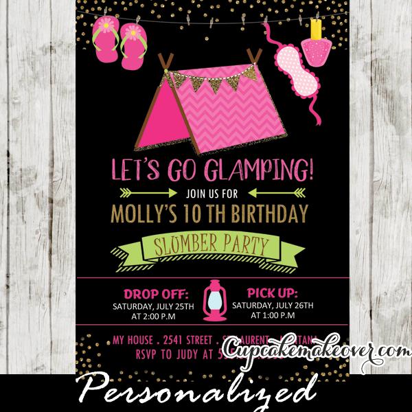sleepover camping birthday invitations
