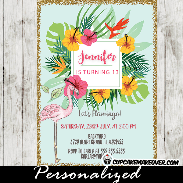 Flamingo Party Invitations Pastel Tropical Floral Gold