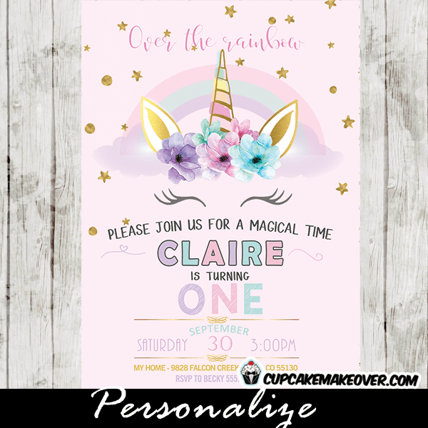 Rainbow Unicorn Invitations Pastel First Birthday Party