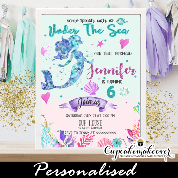 mermaid birthday invitations under the
