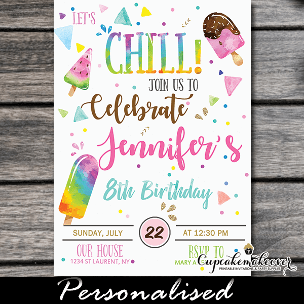 Let S Chill Popsicle Party Invitations Ice Cream Birthday Cupcakemakeover