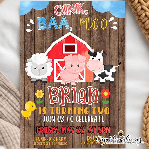barn wood farm animals birthday