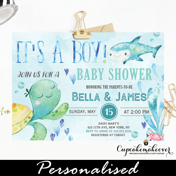Blue Ocean Under The Sea Baby Shower Invites