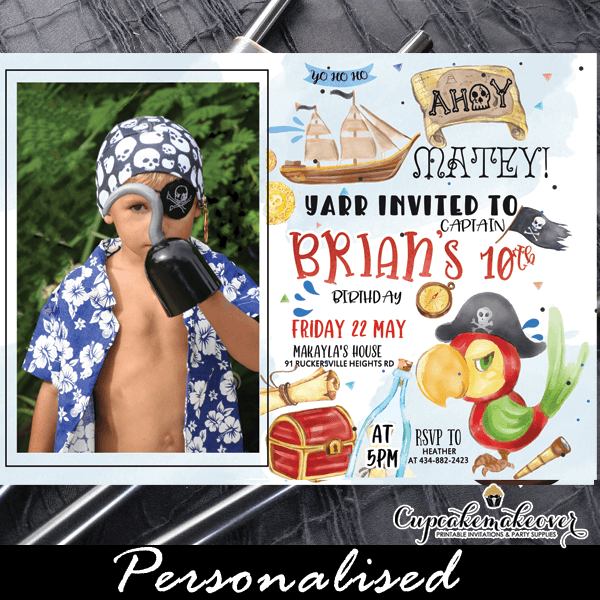 pirates party invitation with photo