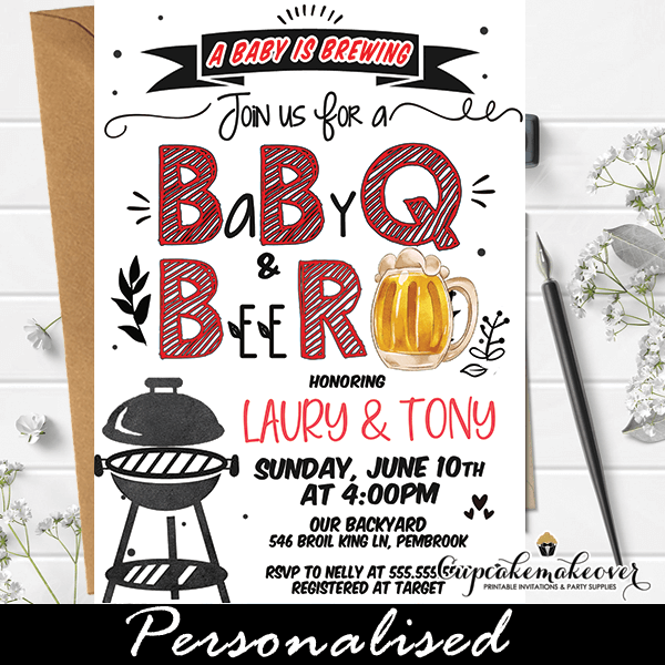 Beer Baby Q Invitations Bbq