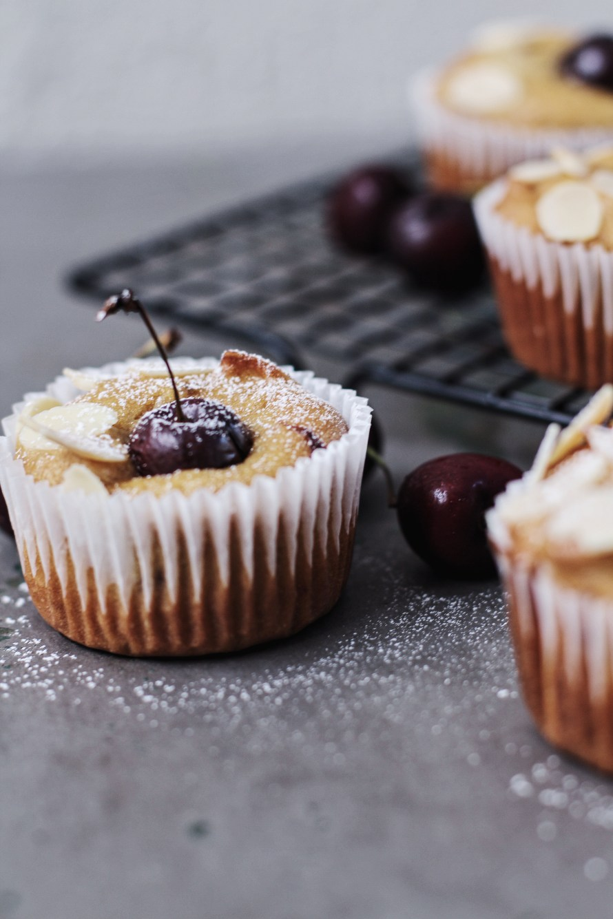 vegan cherry almond muffins