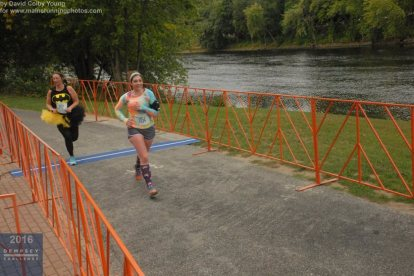 Crossing the (ever elusive, hehe) finish line of the 2016 Dempsey Challenge 10K.