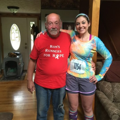 My Dad and I after the 2016 Dempsey Challenge; Dad did the 5K with other family, but we both dedicated our participation to his brother (my uncle) who passed just weeks prior.