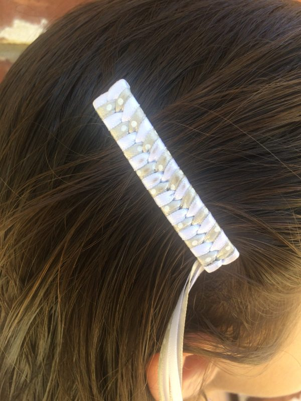 White Silver dots retro braided barrettes