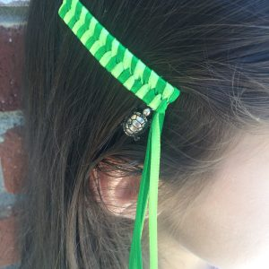 Green Turtle Streamer Barrettes